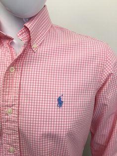 #RALPHLAUREN #Mens #Shirt Small Custom Fitted Pink #GINGHAM #CHEAP #DESIGNER #FASHION