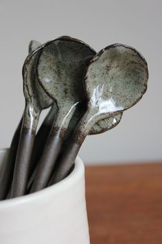 Chocolate Clay and Burnished Mint Spoons Set of door LittleGoatsPlay