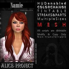 Free Namie Hair Fatpack Second Life. It includes several hair sizes and a HUD to change the color. The HUD has 15 colors ...