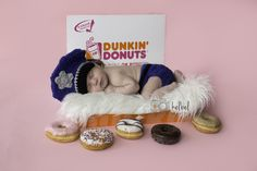 Dunkin Donuts themed police photo shoot, #Mokenanewbornphotographer #Chicagonewbornphotographer #dunkindonuts