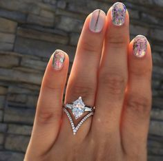 Awesome deep v diamond wedding band to add an edgy twist to a classic marquise engagement ring