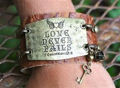 """Love Never Fails"" Wide Cuff Set."