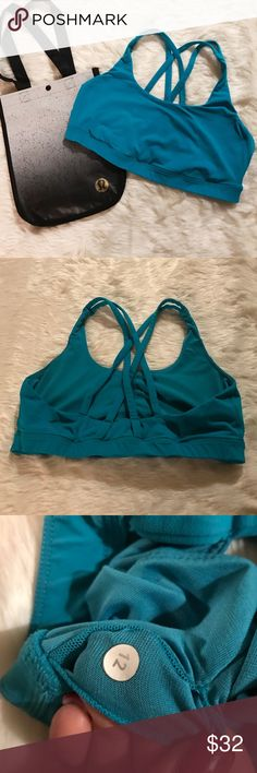Lululemon Energy Bra Great used condition (very minimal signs of wear). I love this bra, but it's just too small for me. Perfect for running. Sexy back strap design. In a bright blue color. Bundle and save! 💕❄️🏃 lululemon athletica Intimates & Sleepwear Bras