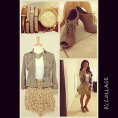 My look! White T from #target jacket from #ross #skirt from #freepeople #shoes from #fioni #accessories from #jubileejewelz for fashion tips and ideas www.youtube.com/InTouchChic