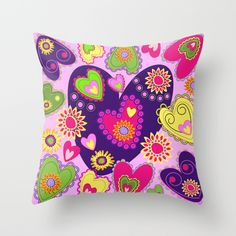 Romantic Hearts and Cute Flowers Throw Pillow
