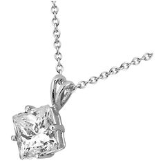 Allurez 1.00ct. Princess-Cut Diamond Solitaire Pendant in 18k White... ($4,025) ❤ liked on Polyvore featuring jewelry, pendants, necklaces, accessories, charm pendants, 18 karat gold pendant, white gold jewellery, pendant jewelry and white gold pendant