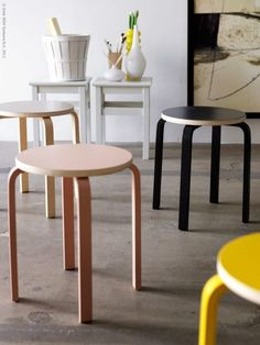 For some strange reason, Ikea has discontinued its brilliant and ever-hackable Frosta stool in the US market. Take action and email Ikea that you want it back. Ikea Furniture, Cool Furniture, Furniture Design, Frosta Ikea, Ikea Stool, Alvar Aalto, Best Ikea, Ikea Hacks, Diy Chair