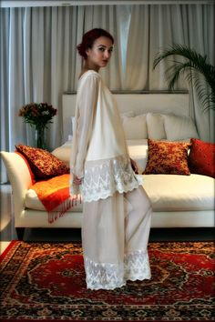 73112f417af Silk Pajamas Champagne Chiffon Ella 3 Pc Set Bridal Lingerie Wedding  Pajamas Wedding Sleepwear Versailles French Lace Lingerie Satin Cami