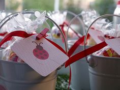 Sweet ladybug favor buckets! #ladybugs #party favors