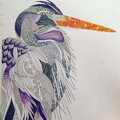 For the past day I have been #zoningout in #adultcoloringbook by #milliemarotta. Why is #coloring such a great way to #relax ?! I haven't colored in over 30 years and now I'm a bit obsessed! #heron #animalkingdomcolouringbook