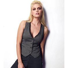 Gilet de costume dentelle tissu stretch femme  Gris/noir- Vue 1