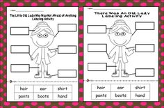 FREE labeling cut & paste sheets for The Little Old Lady Who Was Not Afraid of Anything and There Was an Old Lady