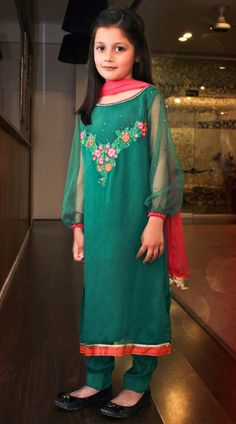 Buy Green Embroidered Chiffon Dress by PakRobe.com