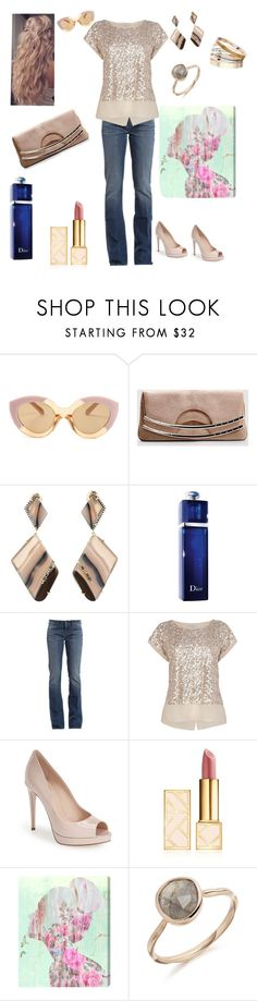 """""""nude lady"""" by prettycarole ❤ liked on Polyvore featuring Karen Walker, Jemma Wynne, Christian Dior, 7 For All Mankind, Fendi, Tory Burch, Oliver Gal Artist Co. and Dorothy Perkins"""
