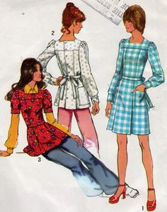 1970s Boho Dress or Tunic Pattern Simplicity 5405 Boho Back Button Dress or Tunic Puff Sleeves Junior Teen Vintage Sewing Pattern Bust 31