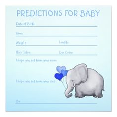 Blue Elephant Baby Boy Shower Predictions for Baby Card - baby shower ideas party babies newborn gifts Newborn Baby Gifts, Baby Boy Gifts, Gifts For Boys, Baby Invitations, Custom Invitations, Baby Boy Shower, Baby Shower Gifts, Elephant Baby Boy, Baby Cards