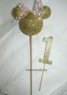 $15.00 ebay Gold Glitter Minnie Mouse Theme Birthday Party Centerpiece Head on Stick ANY AGE #BirthdayChild