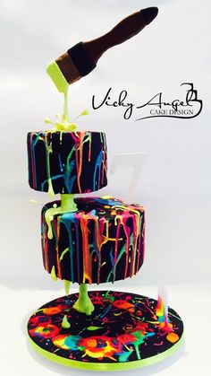 Cake paint splatter neon gravity
