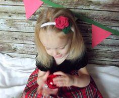 Red Rose Baby Headband  Christmas Flower by AbigailsAttic112