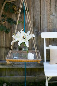 Whitney and Adam's Live/Work Canal Cottage -Love this hanging table.  Would be great outside or in corner of a room.