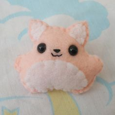 Pink and White Felt Kitty Brooch on Etsy, $8.50