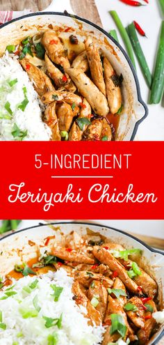Chicken Teriyaki – With Only 5 Ingredients A meal that uses only 5 ingredients and takes 20 minutes to make! This easy Teriyaki chicken is delicious – my new go-to weeknight meal! 5 Ingredient Dinners, 5 Ingredient Recipes, Easy Smoothie Recipes, Healthy Recipes, Easy Recipes, Cheap Recipes, Budget Recipes, Healthy Meals, Healthy Food