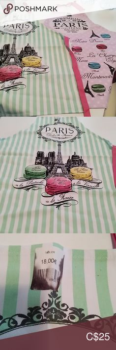 Paris Souvenir Aprons (sold separately) NWT ✨New✨ souvenir Parisian aprons One purple and one green stripe Pink ties cotton New condition - never used Imported If interested in purchasing- please indicate your colour preference Kitchen Kitchen Linens Yellow And Brown, Green And Purple, Yellow Placemats, Paris Souvenirs, Holiday Tablecloths, Whimsical Owl, Retro Housewife, Blue Towels, Pink Ties