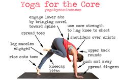 Yoga Pose for the Core (and good tips for stepping to the front of the mat from down dog) by yogabycandace #Yoga #Core