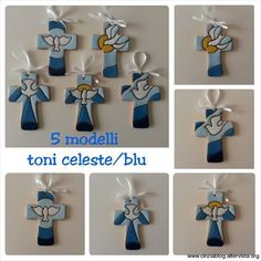 5 modelli crocifissi toni celeste/blu Ceramic Angels, Creta, Basket Bag, Pasta Flexible, Kirchen, Communion, Quilling, Mandala, Pottery