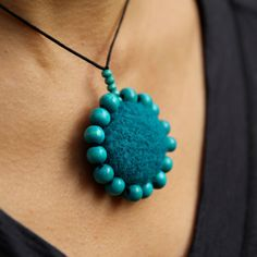 Felted turquoise necklace wool flower by HouseOfHandmadeCom, $30.00