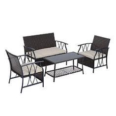 Amazon.com : Outsunny 4-Piece Outdoor Rattan Wicker Furniture Set : Patio, Lawn & Garden