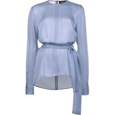 Dsquared2 tie waist blouse (32.925 RUB) ❤ liked on Polyvore featuring tops, blouses, blue, sheer long sleeve blouse, stitching blouse, blue top, see through blouse and sheer long sleeve top