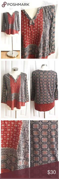 Lucky Brand Boho Top Navy blue, cream, burnt orange print with boho style. 3/4 sleeve top with slight vneck. Back is a little longer than front of shirt. Soft fabric. 60% cotton 40% modal. Lucky Brand size L. Lucky Brand Tops