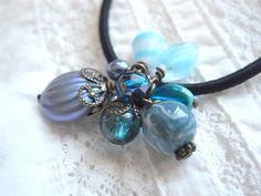 Hair Elastic Blue And Aqua Color Glass Beads by KanaBeadsGarden, $9.00