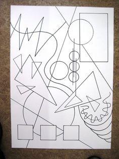 Kandinsky abstract drawing with Sharpie then watercolor wash over the top Kadinsky Art, 8th Grade Art, Art Worksheets, Middle School Art, Elements Of Art, Art Classroom, Art Plastique, Elementary Art, Teaching Art