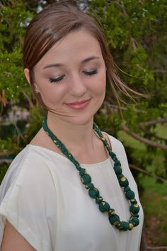 Baylor Green and Gold Teething Necklace for Mama and Baby
