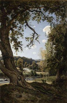 Henri Joseph Harpignies (Fr. 1819-1916), Le Vieux noyer. Souvenir de l'Allier, 1878, huile sur toile, 165 x 110 cm, Valenciennes...