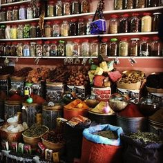 Spices, herbs and oils at Herboristerie Palais El Badii in Morocco