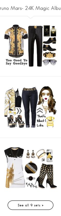 """Bruno Mars- 24K Magic Album"" by texasradiance ❤ liked on Polyvore featuring Bottega Veneta, Versace, men's fashion, menswear, Lime Crime, Modern Bride, Oscar de la Renta, Christian Louboutin, Kismet by Milka and Bloomingdale's"