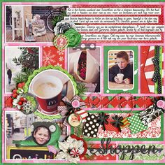 Double it up: set 9 - all purpose album by Cindy Schneider. Layered labels - December daily V2 by Cindy Schneider. Mistletoe magic by Melissa Bennett & Amy Stoffel. Get artsy: spritzed overlays by Traci Reed. Fonts DJB Miss Jayne Aire and DJB dear Mrs Claus