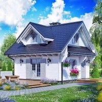 Drewniany domek letniskowy Alicja 62 + 18 m2 | domkiletniskowe.org Style At Home, Cabin Design, House Design, Small Modern House Plans, Wooden House, Cottage Homes, Home Hacks, Home Fashion, House Floor Plans