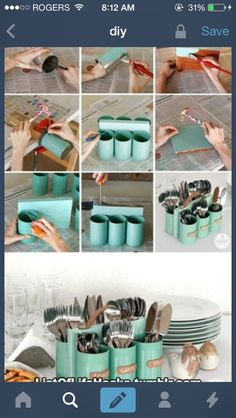 utensil holder out of tin cans