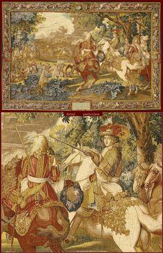 "Tapestry De Rambouillet - Polychrome reproduction on textile of ""Histoire du Roi: le canal de Bruges"" - XVIIth. Cent., Mobilier national)."