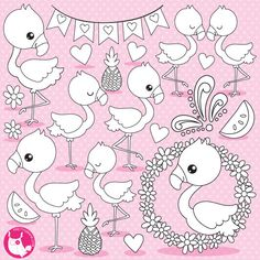 80 OFF SALE Flamingo Digital Stamp Commercial Use Black Lines Vector Graphics