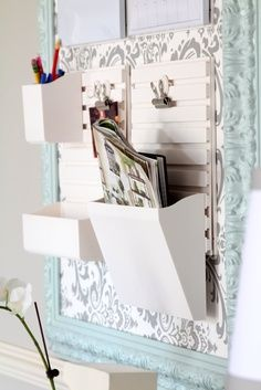 Oh la la...look what you can do w/a frame & some shelf/scrapbook paper!