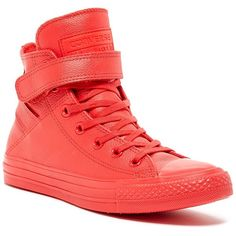 Converse Chuck Taylor High Top Sneaker (Women) ($50) ❤ liked on Polyvore featuring shoes, sneakers, red, velcro high-top sneakers, converse high tops, high top shoes, lace up sneakers and red high top sneakers