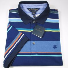 BROOKS BROTHERS Golden Fleece S/S Polo Shirt 100% Cotton BLUE 2XL NWT #BrooksBrothers #PoloRugby