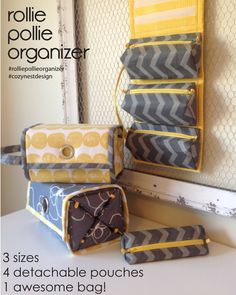 **THIS LISTING IS NOT FOR A FINISHED ITEM - THIS IS A SEWING PATTERN**  The Rollie Pollie is an all-purpose organizer featuring 4 detachable,