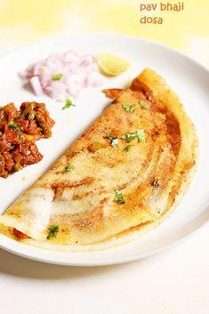 Pav bhaji dosa recipe is a popular and tasty Indian street food. Pav bhaji dosa is fusion dish of dosa and pav bhaji masala. Recipe via cookclickndevour. Bhel Recipe, Chaat Recipe, Masala Recipe, Pav Recipe, Indian Snacks, Indian Food Recipes, Real Food Recipes, Mumbai Street Food, Indian Street Food