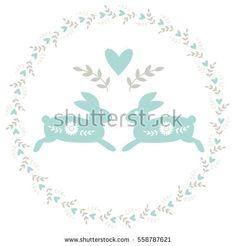 Vector wreath with traditional folk motif with rabbits